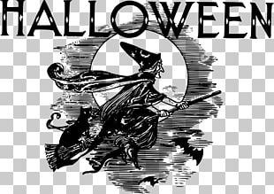 Post Cards Halloween Witch Cat Vintage PNG