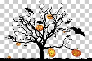 Halloween Pumpkin Ghost Tree PNG
