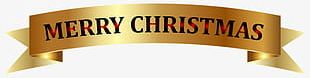 Merry Christmas Banner Gold PNG
