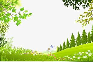 Cartoon Trees Plants Green Grass Background Material PNG
