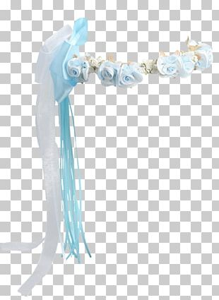 Wreath Satin Flower Light Blue PNG