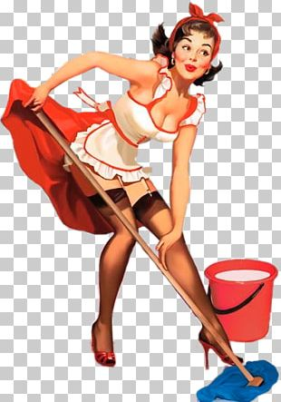 Pin-up Girl Cleaning Woman Poster PNG