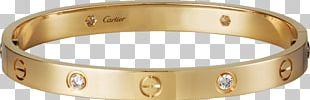 Love Bracelet Diamond Colored Gold PNG
