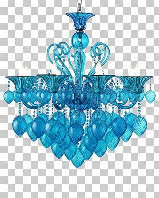 Light Chandelier Aqua Glass Blue PNG