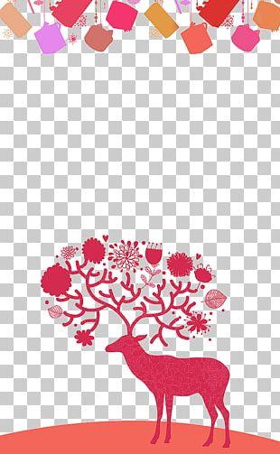 Red Deer Elk Christmas Poster PNG
