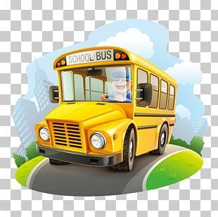 School Bus Cartoon Illustration PNG