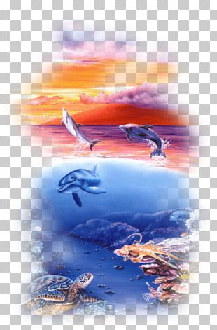 Dolphins In The Ocean Oil Painting Art PNG