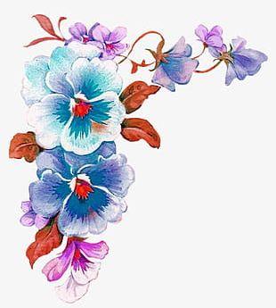Purple Watercolor Flower Borders Decorative Pattern PNG