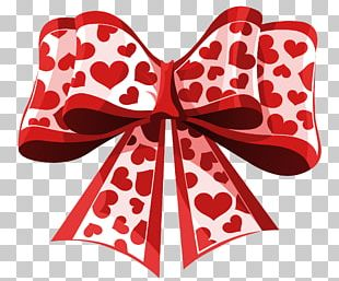 Valentine's Day Heart Ribbon PNG