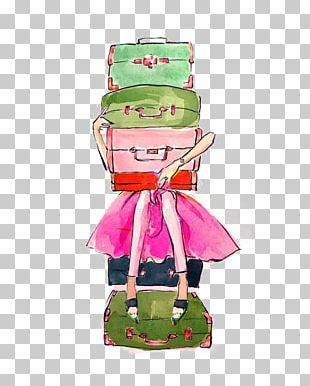 Suitcase Travel Drawing Watercolor Painting Illustration PNG