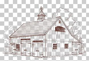 Barn Roof House Facade Sketch PNG