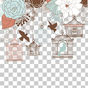 Wedding Invitation Birdcage Illustration PNG