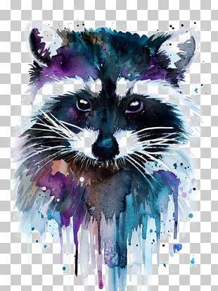 Watercolor Painting Artist Raccoon PNG
