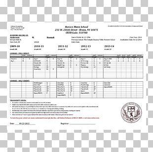 National Secondary School Grading In Education Transcript Student PNG