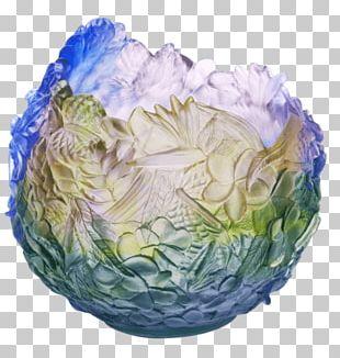 Daum Vase Floral Design Glass Decorative Arts PNG