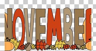 November Autumn Banner PNG