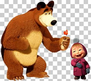 Bear Giving Masha Rooster Lolly PNG
