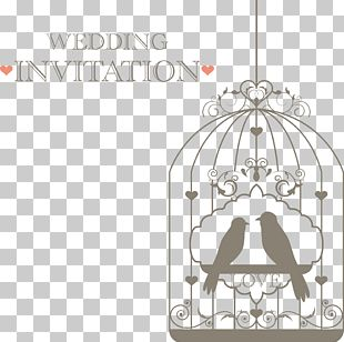 Lovebird Wedding Invitation Birdcage PNG