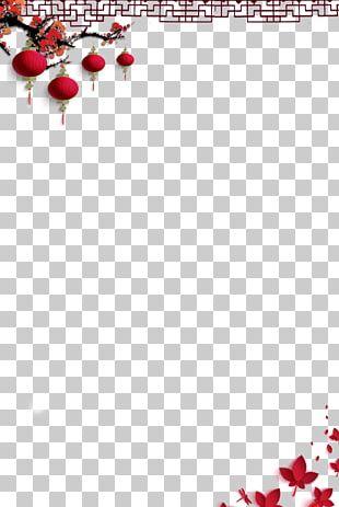 China Plum Blossom Red Lantern PNG