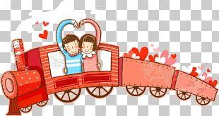 Train Cartoon Couple Illustration PNG