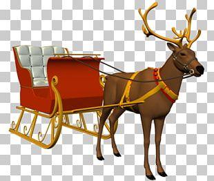 Reindeer Santa Claus Sled Christmas Ornament PNG