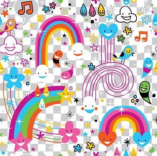 Rainbow Drop Cloud Pattern PNG