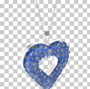 Locket Necklace Cobalt Blue Sterling Silver PNG