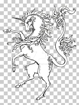 Line Art Drawing Unicorn Heraldry PNG