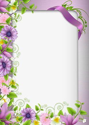 Purple Flowers Border PNG