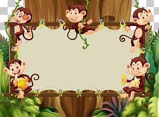 Cartoon Monkey Illustration PNG