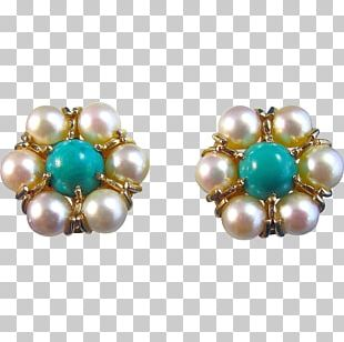 Pearl Earring Turquoise Jewellery Estate Jewelry PNG