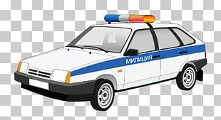 Hand-painted Cartoon Police Car PNG