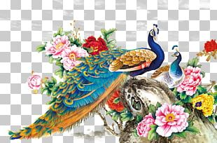 Chinese Painting Techniques Bird Peafowl Wall Decal PNG