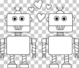 Black And White Valentines Day Robot Car PNG