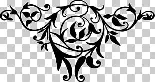 Black And White Flower Drawing Art PNG
