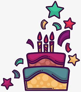 Purple Cartoon Birthday Cake PNG
