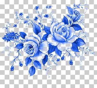 Blue Rose Flower Floral Design PNG