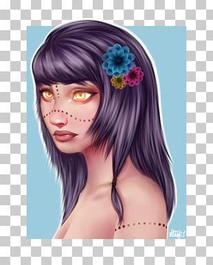 Forehead Hair Coloring Eyelash Wig PNG