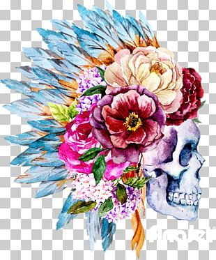 Watercolor Painting Skull Boho-chic Flower PNG