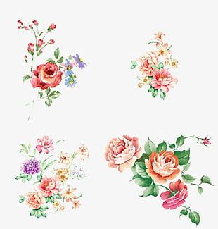Fresh Hand-painted Watercolor Flower Romantic PNG