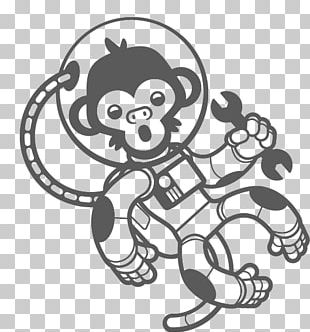 Astronaut Monkey Outer Space Wall Decal PNG