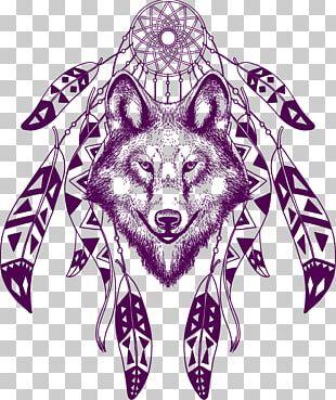Gray Wolf Dreamcatcher T-shirt Poster Illustration PNG