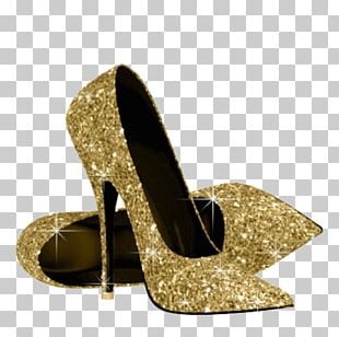 High-heeled Footwear Gold Glitter Shoe PNG