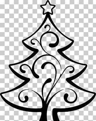Christmas Tree Wedding Invitation Line Art PNG