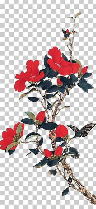 Chinese Painting Gongbi Bird-and-flower Painting Early Spring PNG