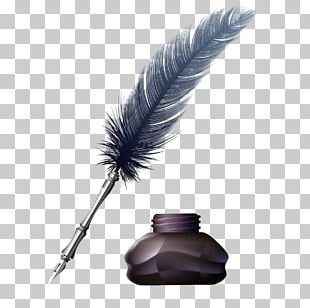 Feather Fountain Pen Ink Paper PNG
