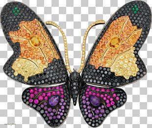 Monarch Butterfly Brooch Jewellery Estate Jewelry Gemstone PNG