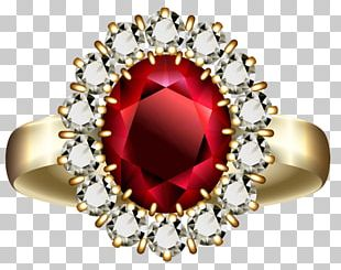 Engagement Ring Ruby Diamond PNG