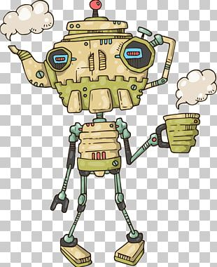Robot Cartoon Teapot Illustration PNG