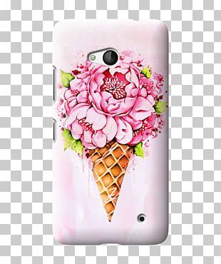 Ice Cream Cones Watercolor Painting Floral Design Flower PNG